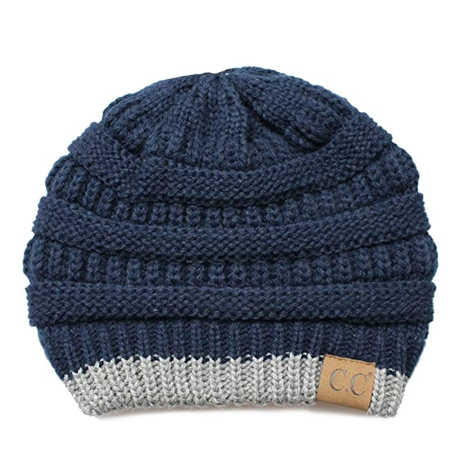 f209601885c Hatsandscarf CC Exclusives Cable Knit Soft Stretch Two Tone Striped Beanie  Hat (HAT-57) (Navy Lt. Mel Grey) at Amazon Women s Clothing store