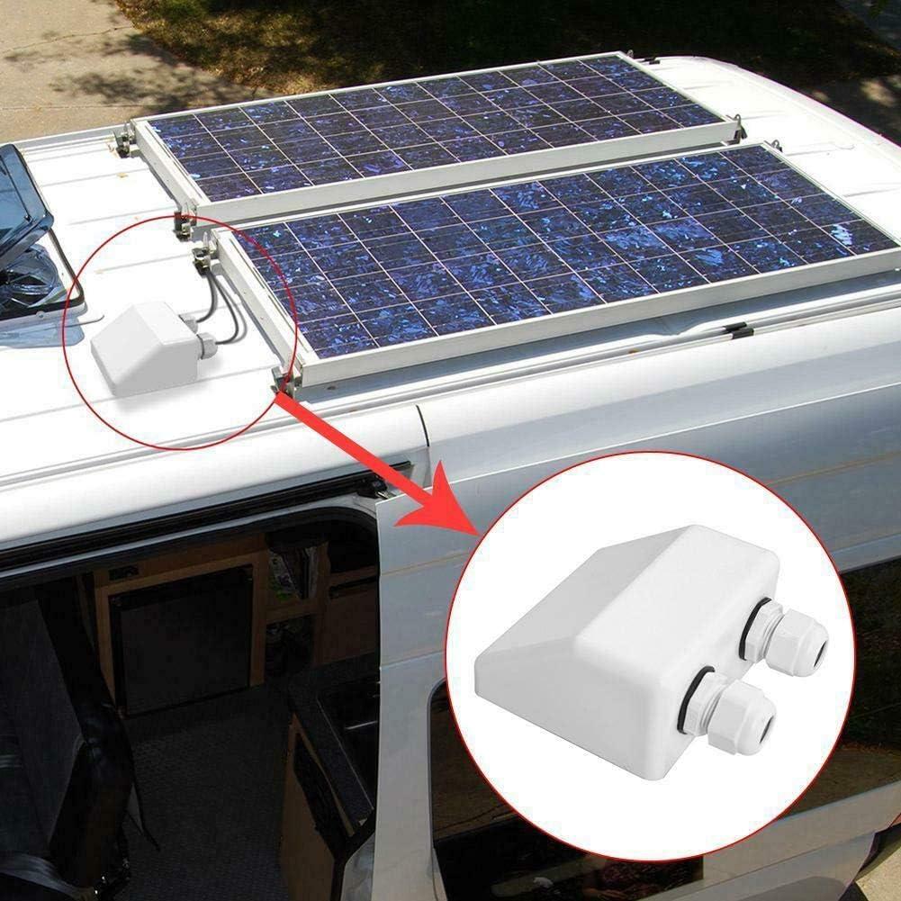 Blanco Caravanas Entrada de Cable Caja F/ácil Instalaci/ón Doble Cable Techo Solar Panel ABS Entrada Gl/ándula Caja de Derivaci/ón Solar Panel Doble Pasamuros Caja para Caravana Free Size
