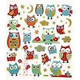 Fancy Glitter Stickers, sheet 15x16,5 cm, owls, 1sheet