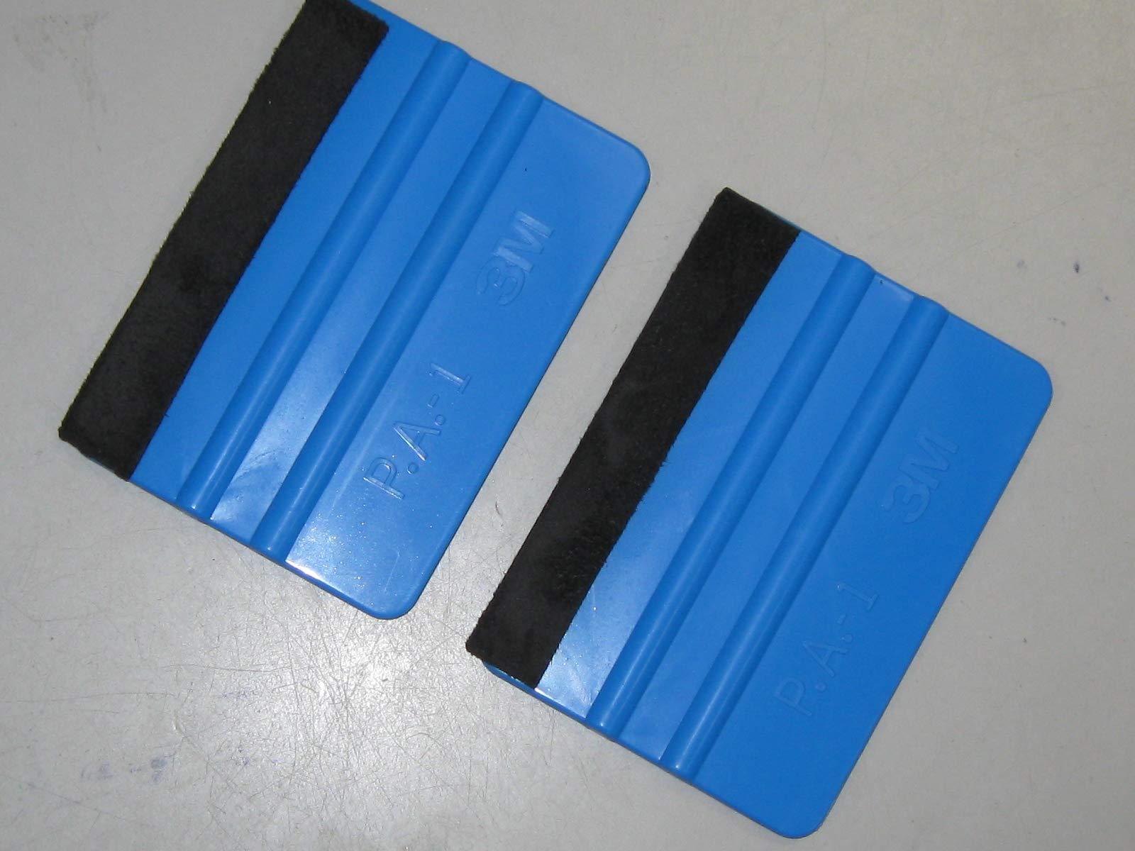 3M Plastic Felt Edge Squeegee 4 inch for Car Vinyl Scraper Decal Applicator Tool (with Black Felt Edge) (2pc)