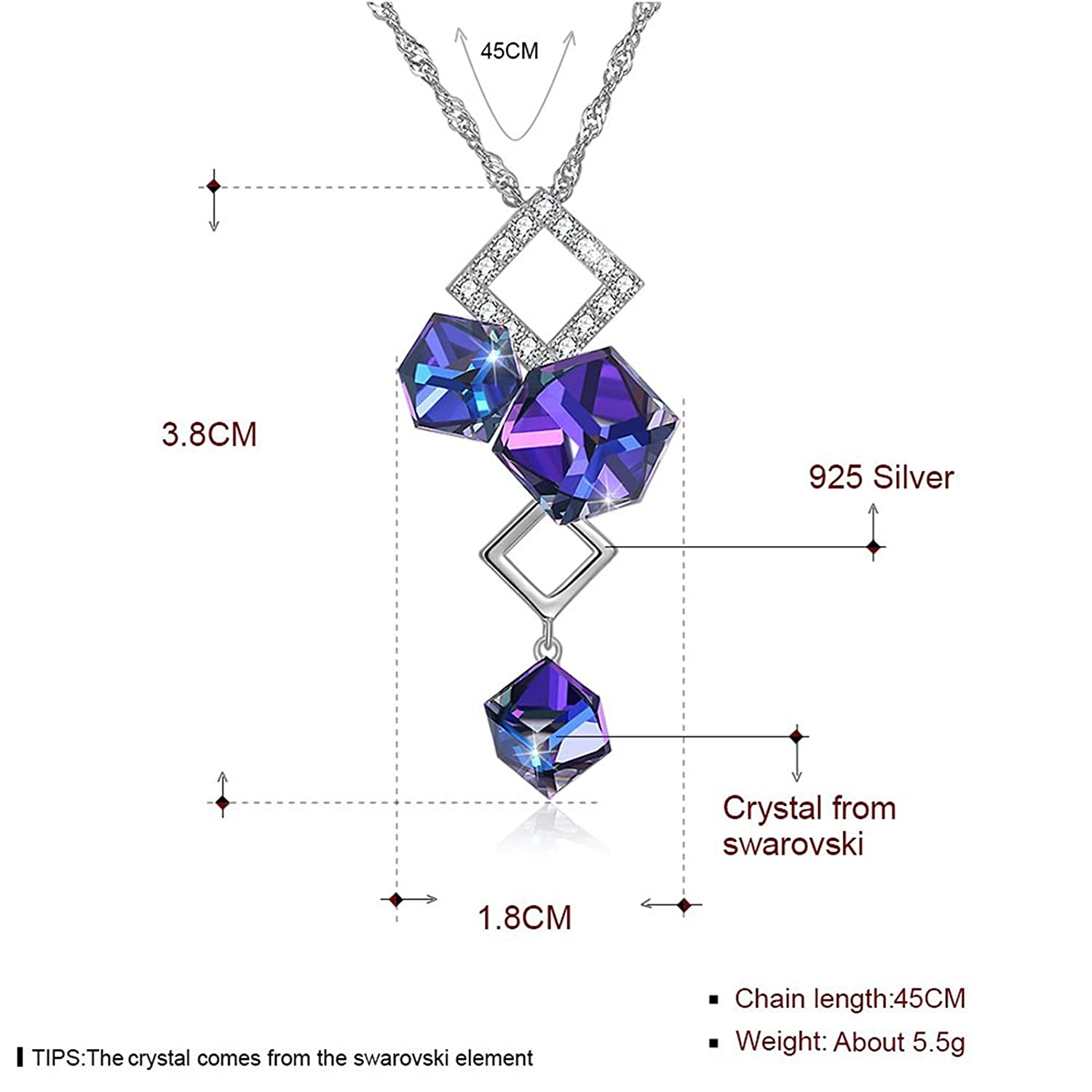 EoCot Silver Plated Blue Crystal Cube Drop Dangle Pendant Necklace for Women Girl
