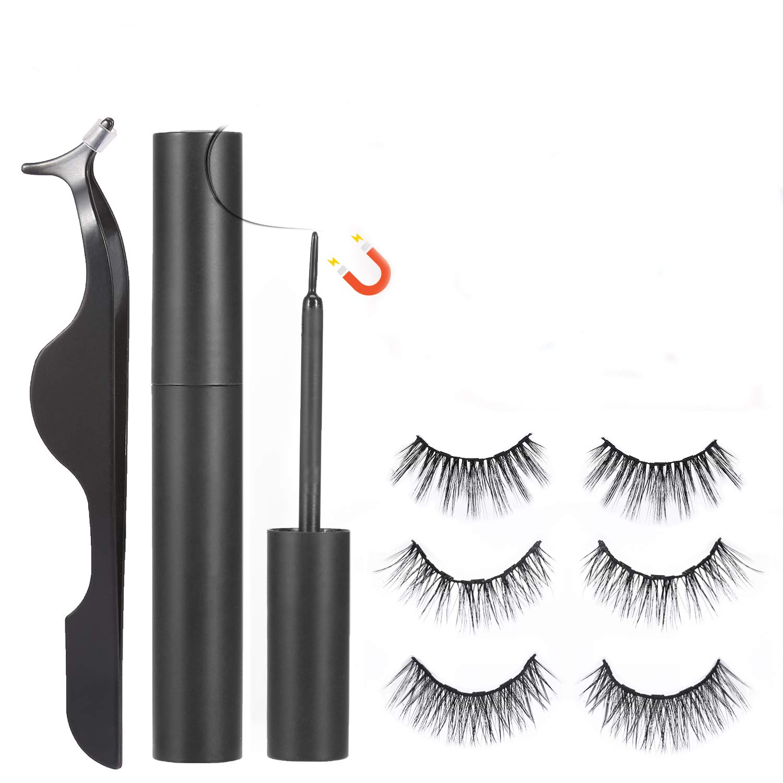 No Glue Gel Reusable False Magnetic Eyelash and Eyeliner Kit, 3 Style Pairs Natural Look Lashes Pack, Waterproof and Easy Use for Small Eyes Fake Eyelashes, Black Tweezers