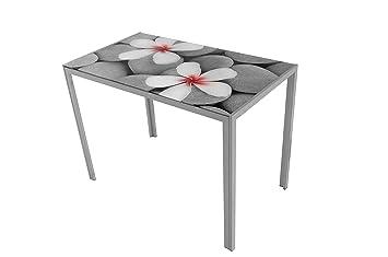 Suarez Mesa de Cocina CICA, diseño Flores Zen, 1 Unidad, Color Plata ...