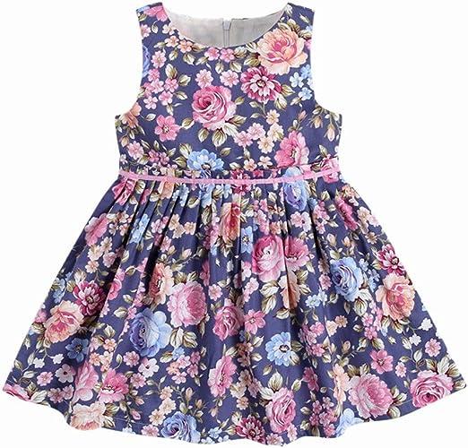 Las niñas de algodón de manga corta vestidos Niño pequeño bebé ...