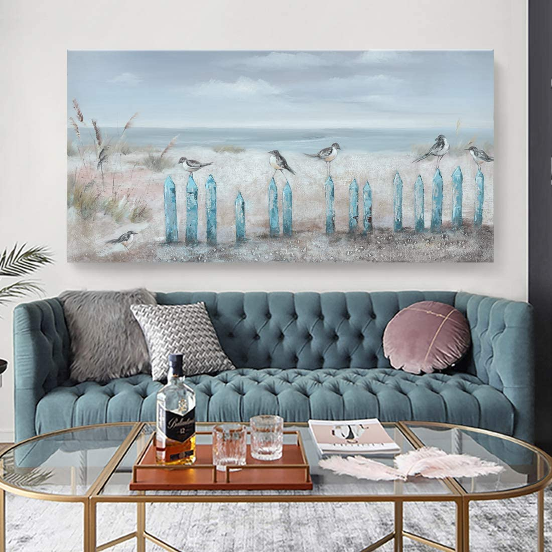 Amazon.com: Big Wall Art for Living Room Extra Large Hand-painted Beach Oil Painting Ocean Sea Bird Seagull Canvas Artwork Framed Seascape Coastal Picture for Office Bedroom Decor 60x30inch: Paintings