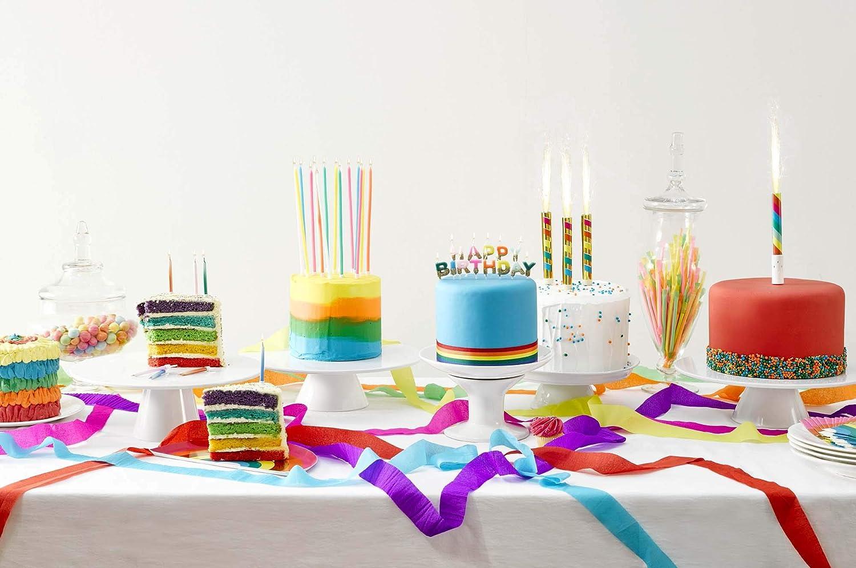 16Pk Talking Tables Rain Rainbow Long Thin Candles Multicolore