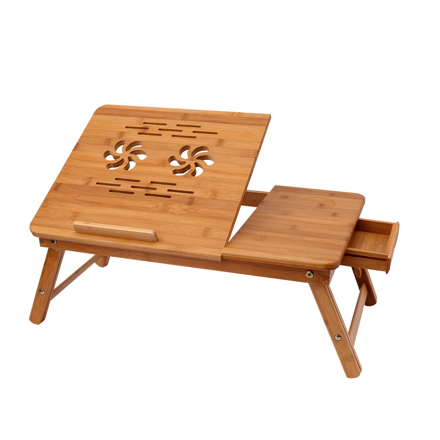 Homevol Bamboo Laptop Desk,Laptop Stand Adjustable Portable Breakfast Serving Bed Tray with Tilting Top Drawer & Cup Holder
