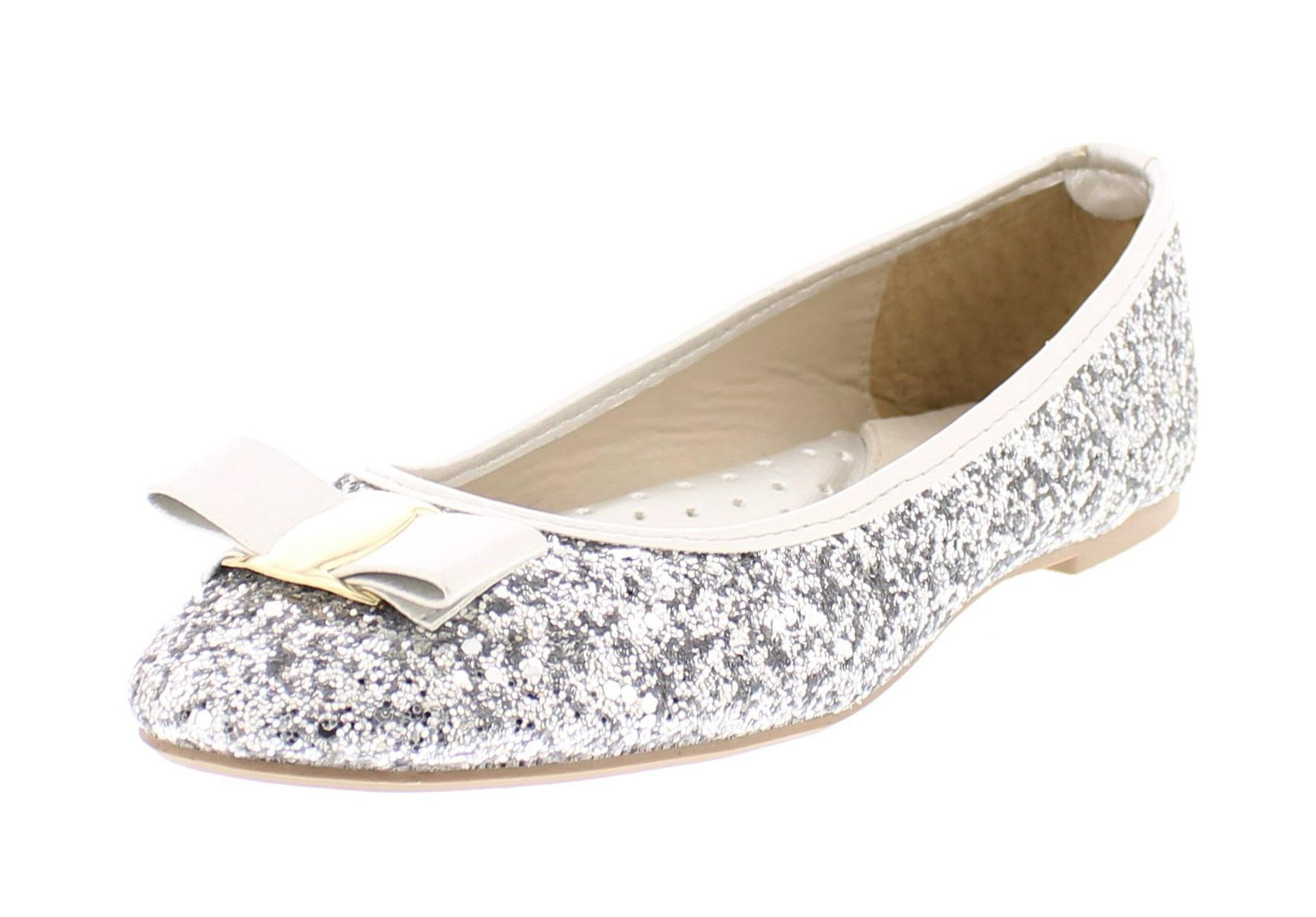 Gold Toe Women's Tempest Metallic Sequin Sparkle Ballet Flat Slipon Dress Pump Bow Ballerina Skimmer Shoe Silver 10 US