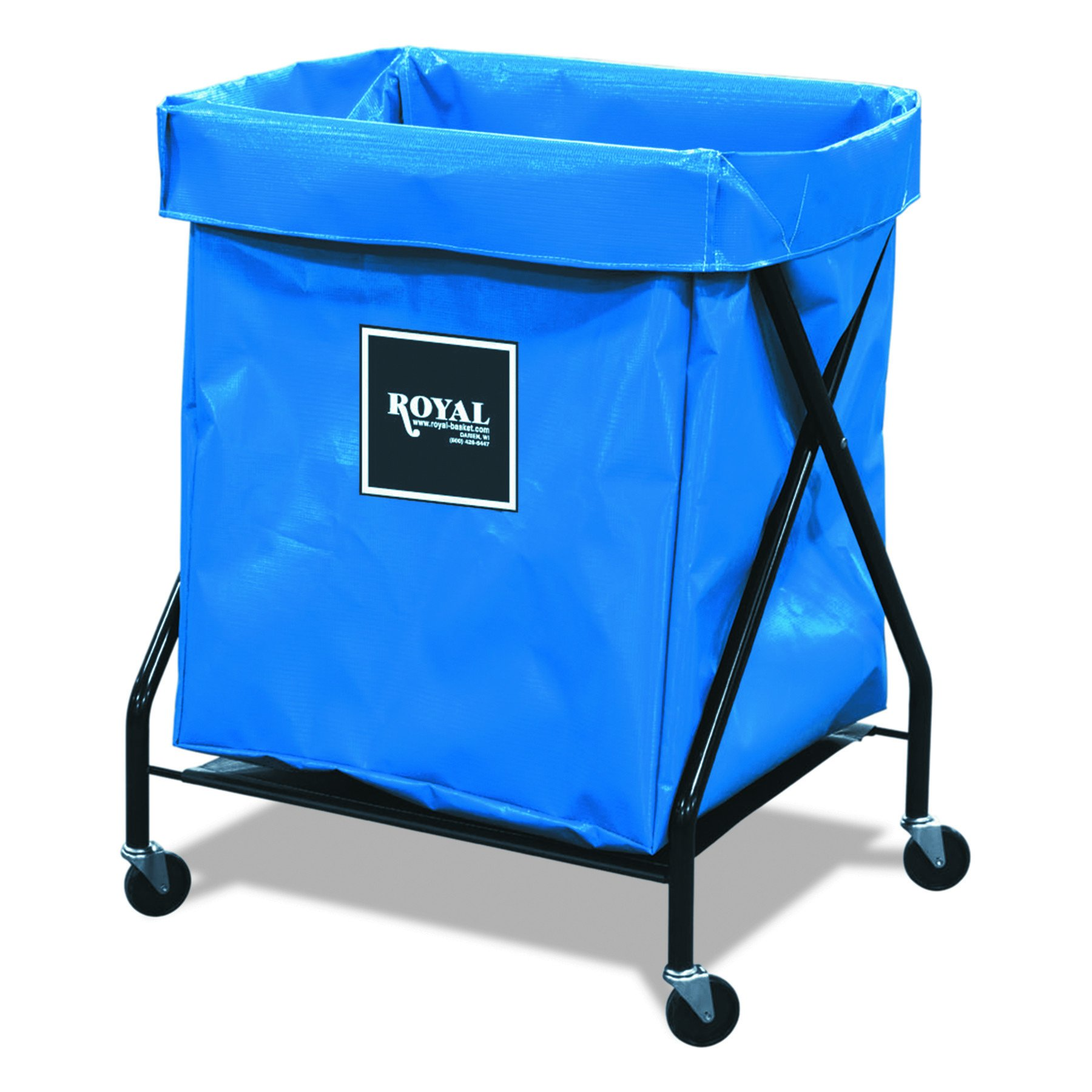 Royal Basket Trucks R08BBXFA3ON RBTR08BBXFA3ON 8 Bushel X-Frame Cart with Vinyl Bag, 21'' x 26'' x 36'', 150 lb. Capacity, Blue