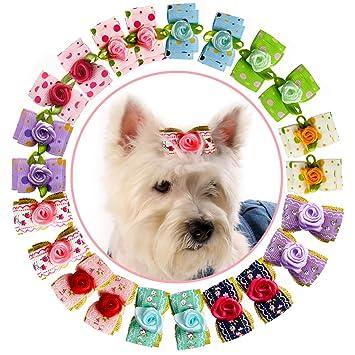HOLLIHI - Lazos de grogrén para mascotas, 24 unidades, 12 pares, con bandas elásticas de goma, accesorios para el cuidado de perros y gatos: Amazon.es: ...