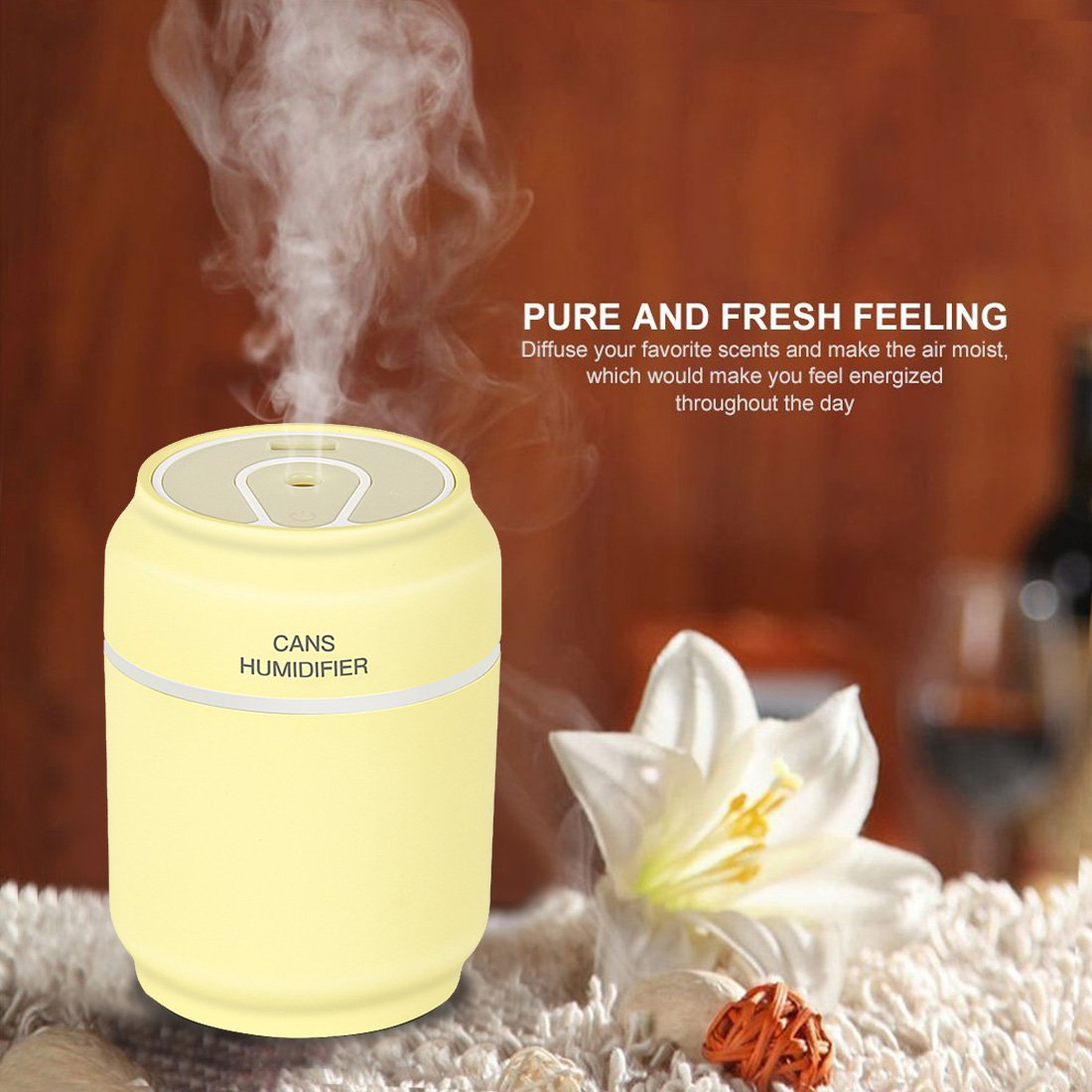 Cool Mist Humidifier,Sysmarts Ultrasonic USB Portable Air Humidifiers Purifier for Cars Office Desk Home Babies kids Bedroom, Mini Desktop Cup Humidifier,Light Yellow