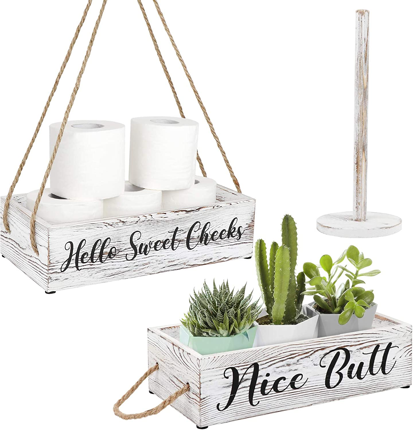 OurWarm Funny Bathroom Decor Box, 2 Sides with Toilet Paper Holder Wall Decor Perfect for House Decor, Modern Farmhouse Decor, Toilet Paper Storage, Rustic Bathroom Decor, Funny Bathroom Signs