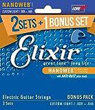 Elixir エリクサー エレキギター弦 2セット+1ボーナスセット NANOWEB Custom Light .009-.046 #16541 (12027 3個セット) 【国内正規品】