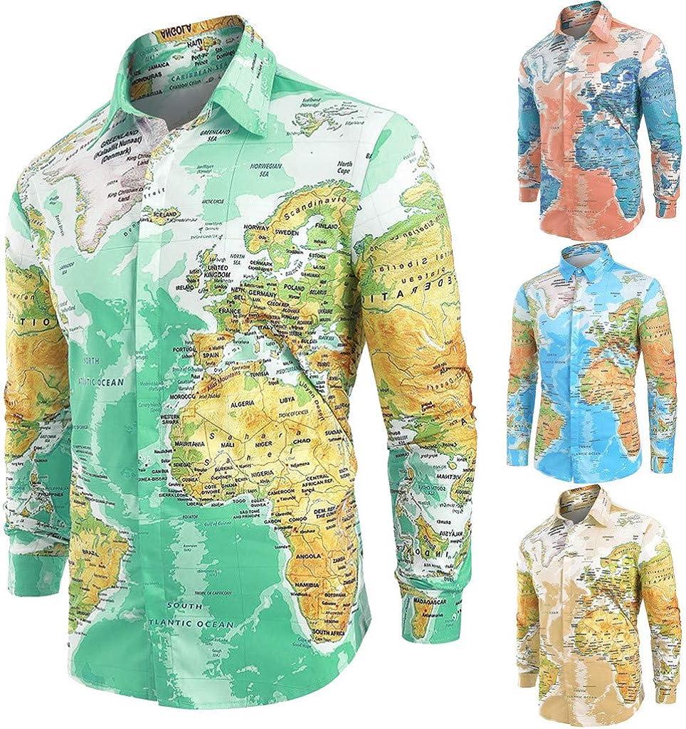 Overdose Camisas Hombre Mapa del Mundo Estampadas Manga Larga ...
