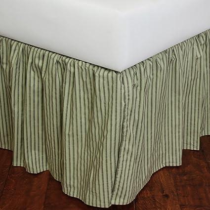 Green Bed Skirt Queen.Amazon Com Celedon Green Stripe Bed Skirt Queen Home