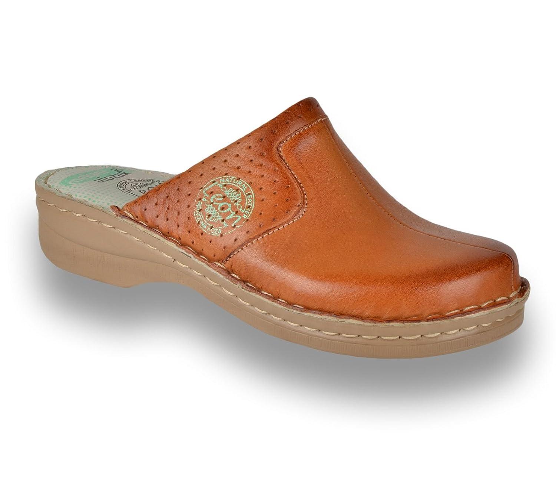 LEON 360 Zuecos Zapatos Zapatillas de Cuero para Mujer 38 EU Marrón