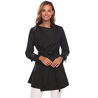 sholdnut Women's Lightweight Open Front Draped Trench Jacket Outwear with Belt: Clothing