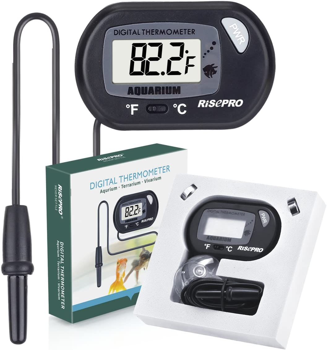 RISERPO LCD Digital Aquarium Thermometer for Fish Tank, Marine, Reptiles, Insects, Lizard, Terrarium, Bath and etc