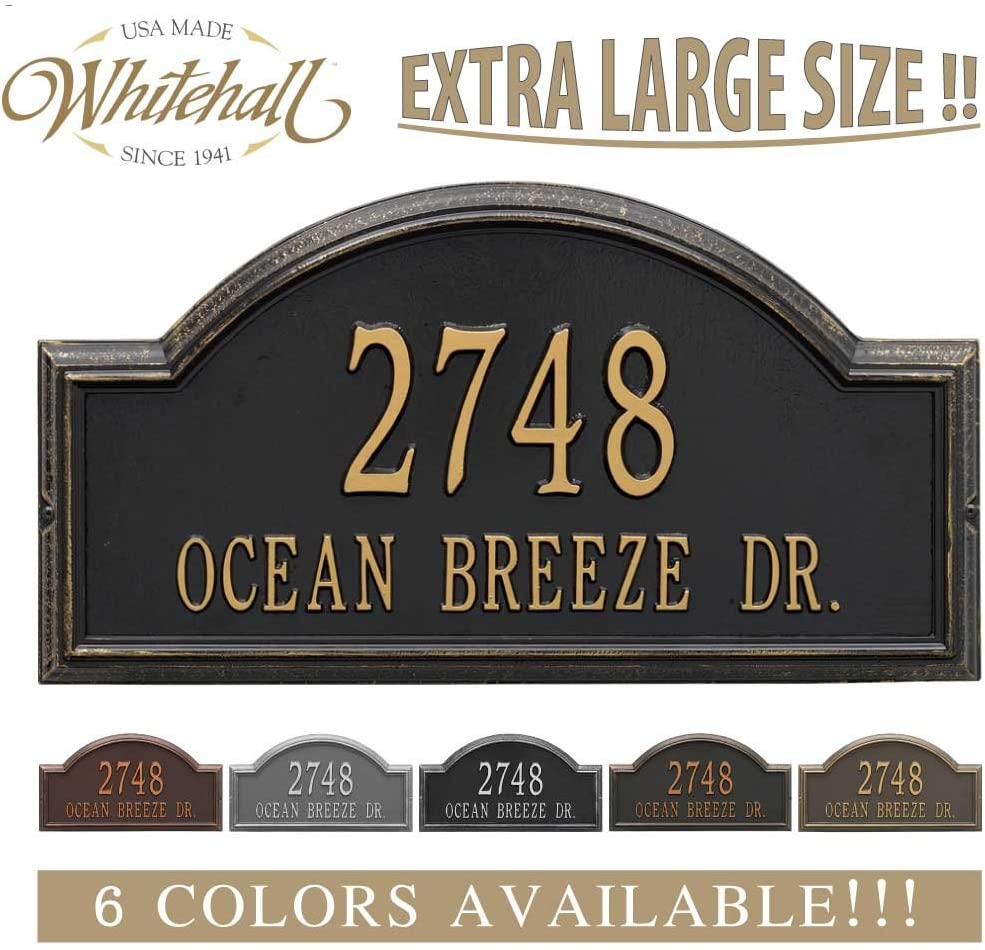 "Metal Address Plaque Personalized Cast The Providence Arch (Large Option, 22.5"" Wide) Display Your Address and Street Name. Custom House Number Sign."