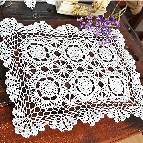 (Merryfeel Handmade Crochet Lace Placemats,100% Cotton Crochet White - Set of 4-12x17 Inch )