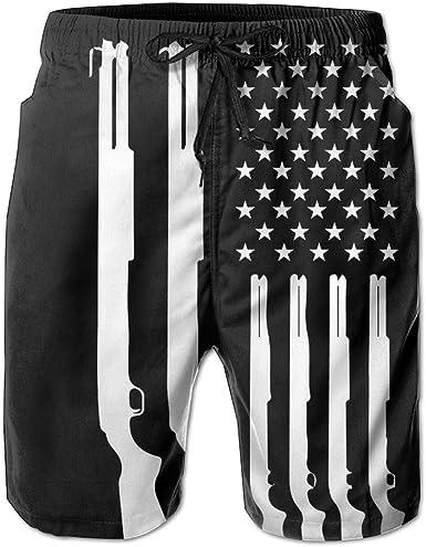 American Texas Flag Mens Summer Casual Short Swim Trunks with Pocket Drawstring