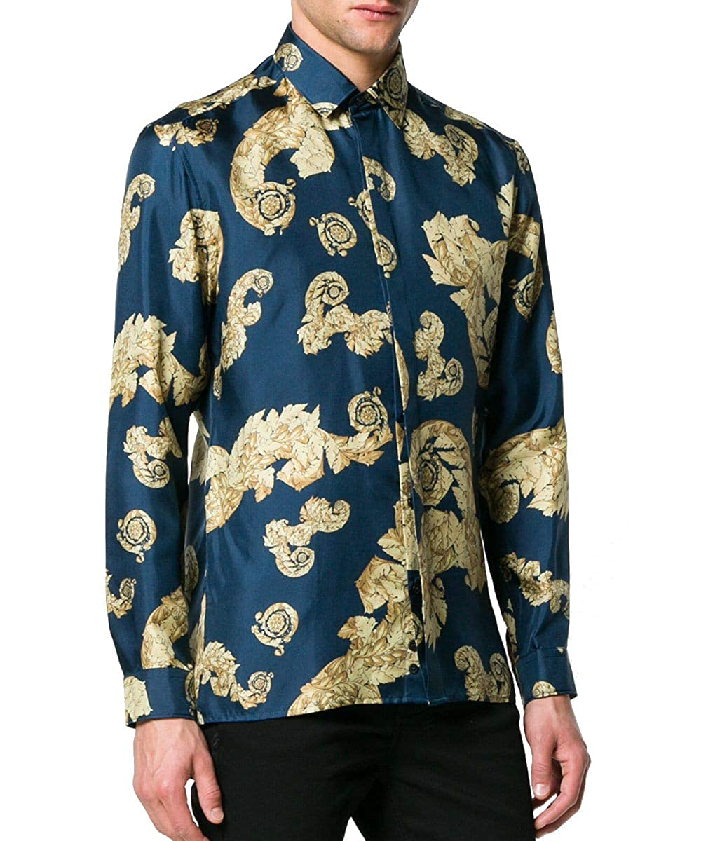 de9d0ae3 Amazon.com: Versace Collection Baroque Print Gold Leaf Silk Shirt, Navy &  Gold ($795) (43 (17)): Clothing