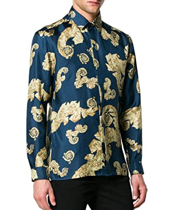 86360cf2 Versace Collection Baroque Print Gold Leaf Silk Shirt, Navy & Gold ($795) (