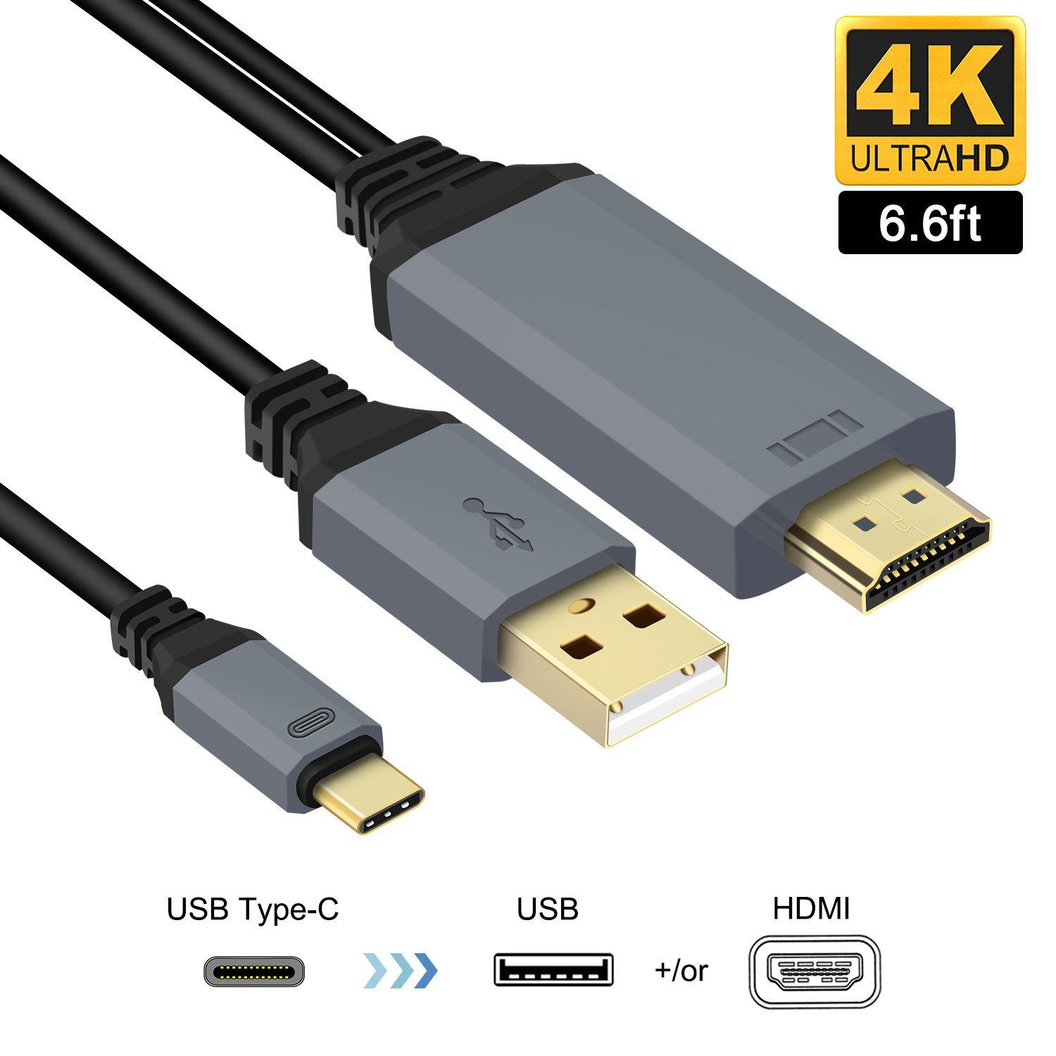 USB C to HDMI Cable Adapter,USB 3.1 Type-C to HDMI 4K with Power Charge Charger Cord 6.6Ft for MacBook Pro 2016/2017,Samsung Galaxy S8/S8+,IMAC Pro 2017,ChromeBook,Dell XPS13,LG G5,Yoga 5 and More