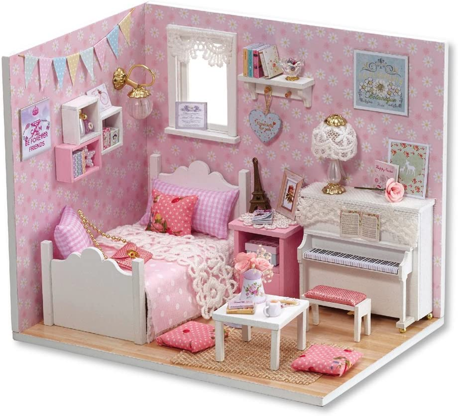 Amazon Com Flever Dollhouse Miniature Diy House Kit Creative Room With Furniture And Cover For Romantic Valentine S Gift Sunny Princess Furniture Decor