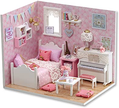 Pink Lure Flever Dollhouse Miniature DIY Music House Kit Creative Room With Furniture for Romantic Valentines Gift