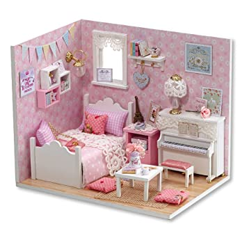Flever Dollhouse Miniature DIY House Kit Creative Room With Furniture And Cover For Romantic Valentines Gift
