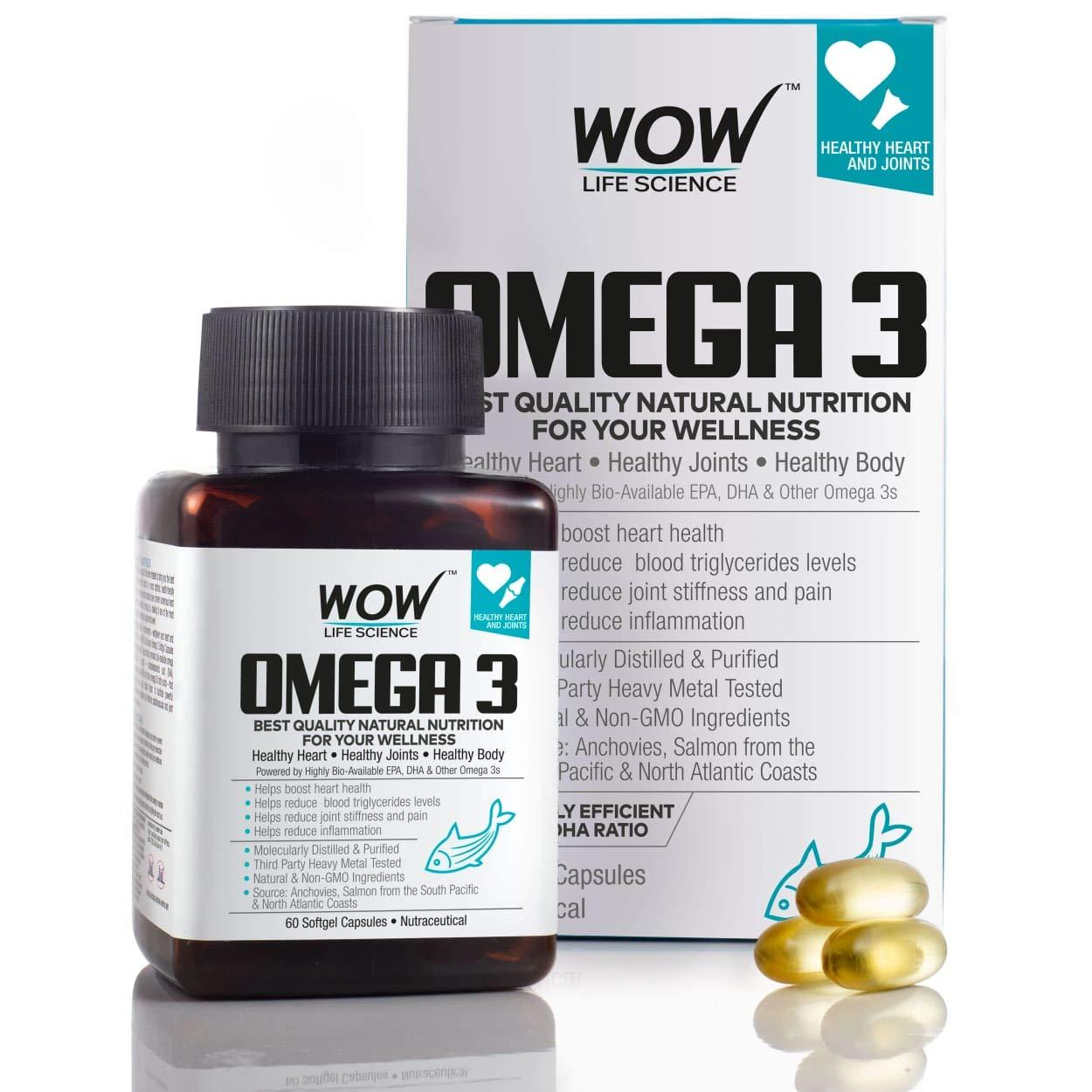 WOW Omega-3 Fish Oil Triple Strength 1000mg (550mg EPA, 350mg DHA, 100mg Other Omega 3 Fatty Acids) - 60 Capsules product image