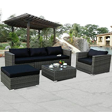 Tangkula Patio Furniture Set 6 Piece Outdoor Lawn Backyard Poolside All Weather PE Wicker Rattan Steel Frame Sectional Cushined Seat Sofa Conversation ...