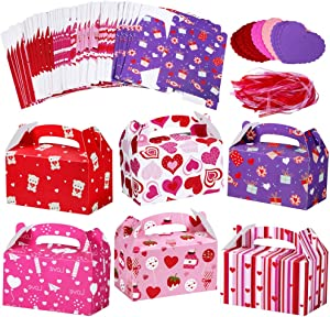 Winlyn 48 Set Valentine's Day Treat Boxes Hearts Prints Boxes Cookie Boxes Goodie Bag Party Favor Boxes Valentines Container Candy Box with Heart Tags Bulk for Kids Girls School Classroom Supplies