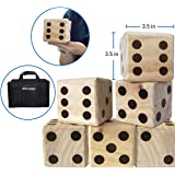 LARGE DICE GAME – GIANT WOODEN YARD DICE SET – DICE WITH BAG DICE GAMES KIDS – GREAT LAWN AND FAMILY GAME
