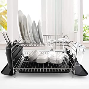 Dish Drying Rack, G-TING 2 Tier Dish Rack with Drainboard, Dish Drainer with Utensil Holder and Cup Holder, Stainless Steel Dish Rack Large Capacity For Kitchen Countertop, Sink Side (Sliver)