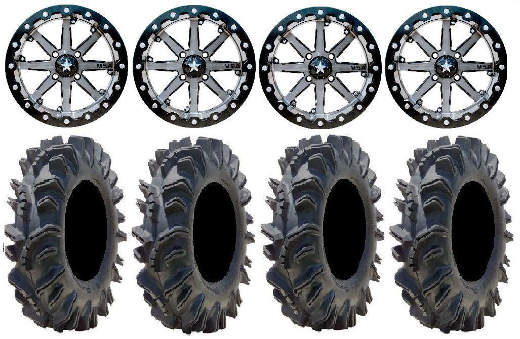 Bundle - 9 Items: MSA Lok 14'' UTV Wheels 29.5'' Terminator Tires [4x137 Bolt Pattern 12mmx1.25 Lug Kit]