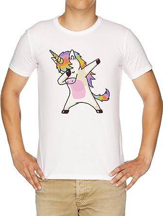 taponando Unicornio Camisa Cadera Salto Salto Pose Camiseta Hombre Blanco: Amazon.es: Ropa y accesorios