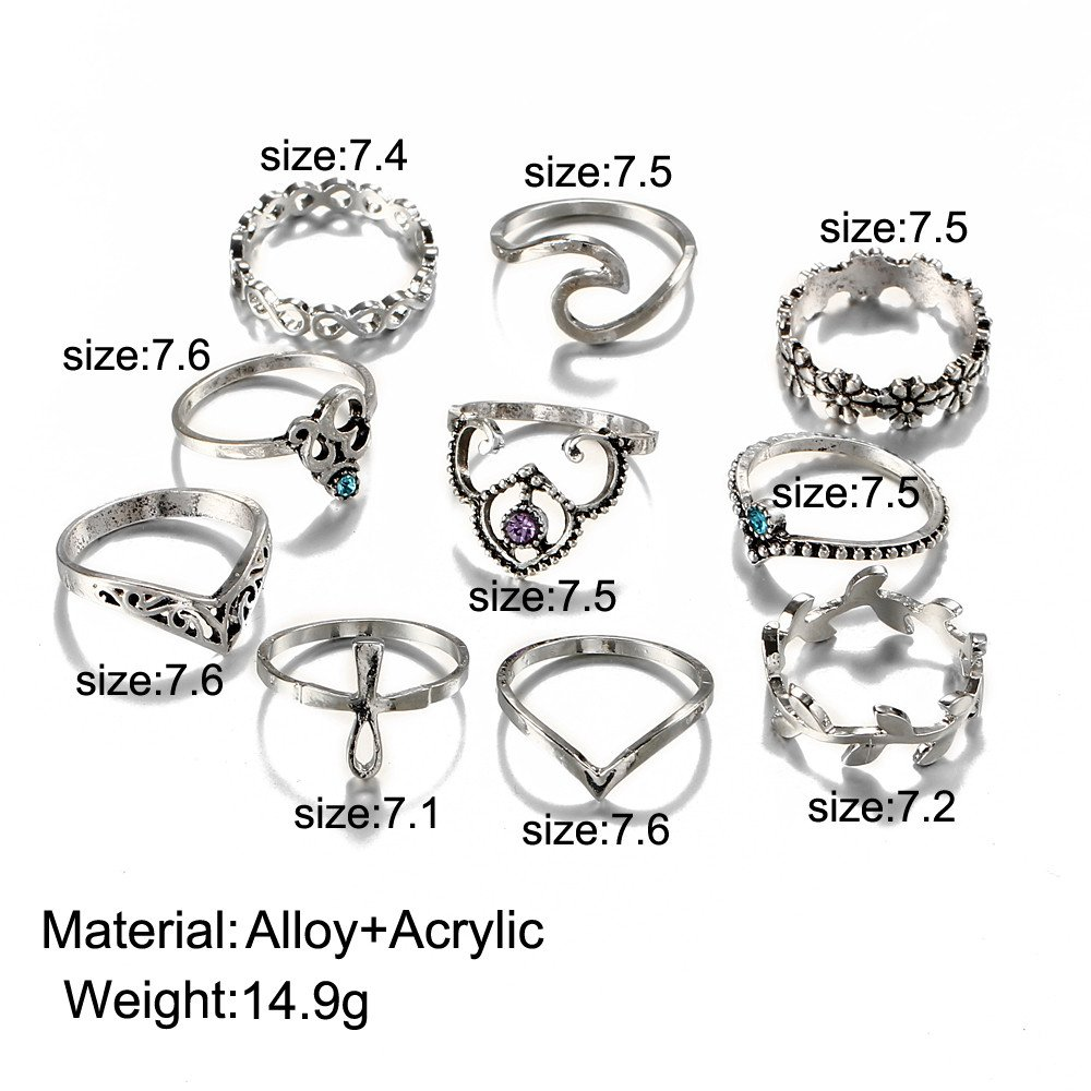 Ciyoon 10pcs//Set Women Girl Ring Vintage Silver Stack Rings Above Knuckle Blue Rings Wedding Hot
