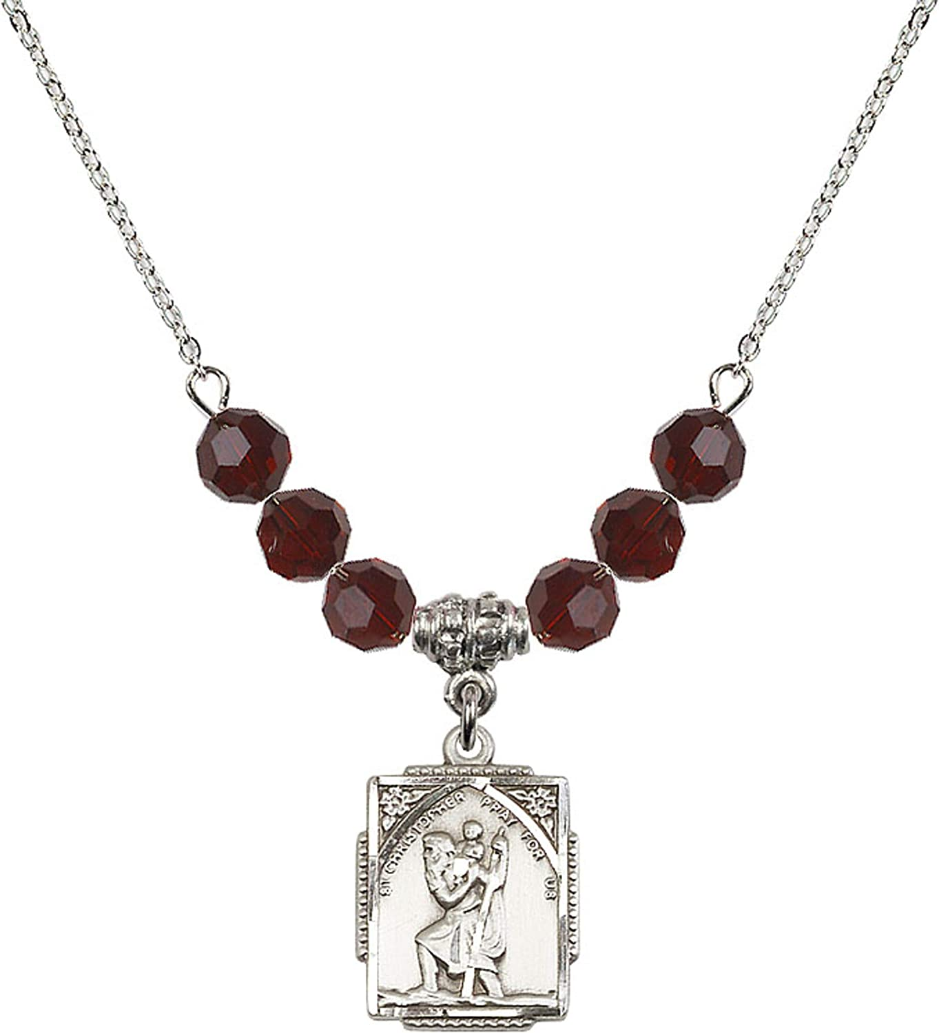 Bonyak Jewelry 18 Inch Rhodium Plated Necklace w// 6mm Red January Birth Month Stone Beads and Saint Christopher Charm