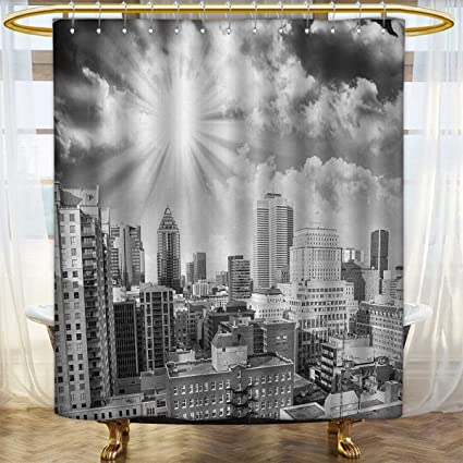 Anhounine Black And White Print Shower Curtain Aerial View Montreal Canada Cityscape With Skyscrapers Architecture Bathroom