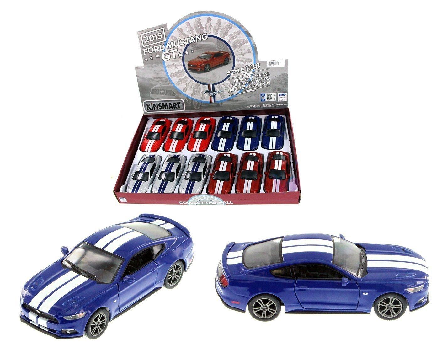 New 1 38 KINSMART DISPLAY BLUE COLOR 2015 FORD MUSTANG GT WITH STRIPES Diecast Model Car By KINSMART