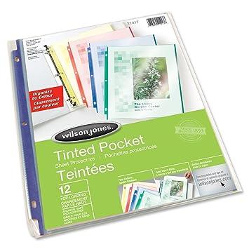Amazon.com : Wilson Jones Tinted Pocket Sheet Protectors, Letter ...