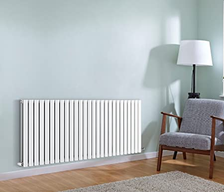 NRG Radiator Horizontal Column Designer Radiator White Double Oval Panel    600 X 1593mm