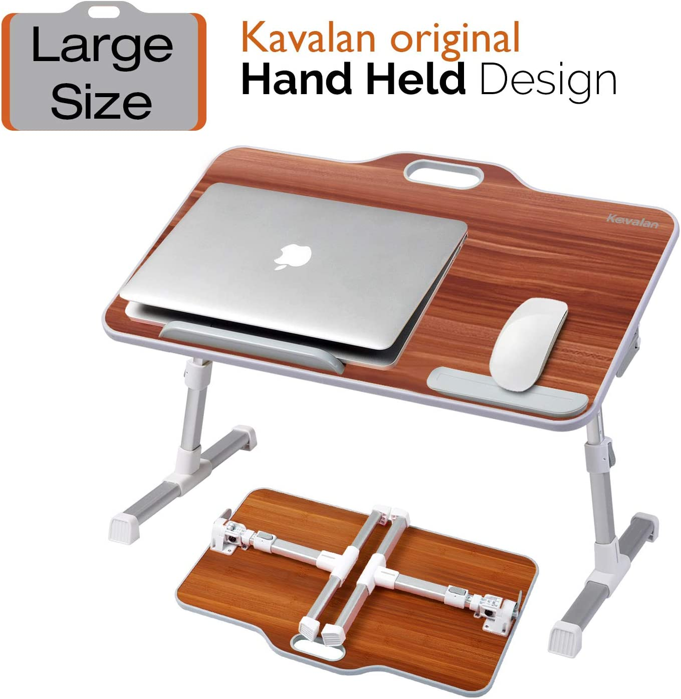 Kavalan Large Size Portable Laptop Table with Handle, Height & Angle Adjustable Sit and Stand Desk, Bed & Breakfast Table Tray, Foldable Notebook Stand Holder for Sofa Couch - American Cherry