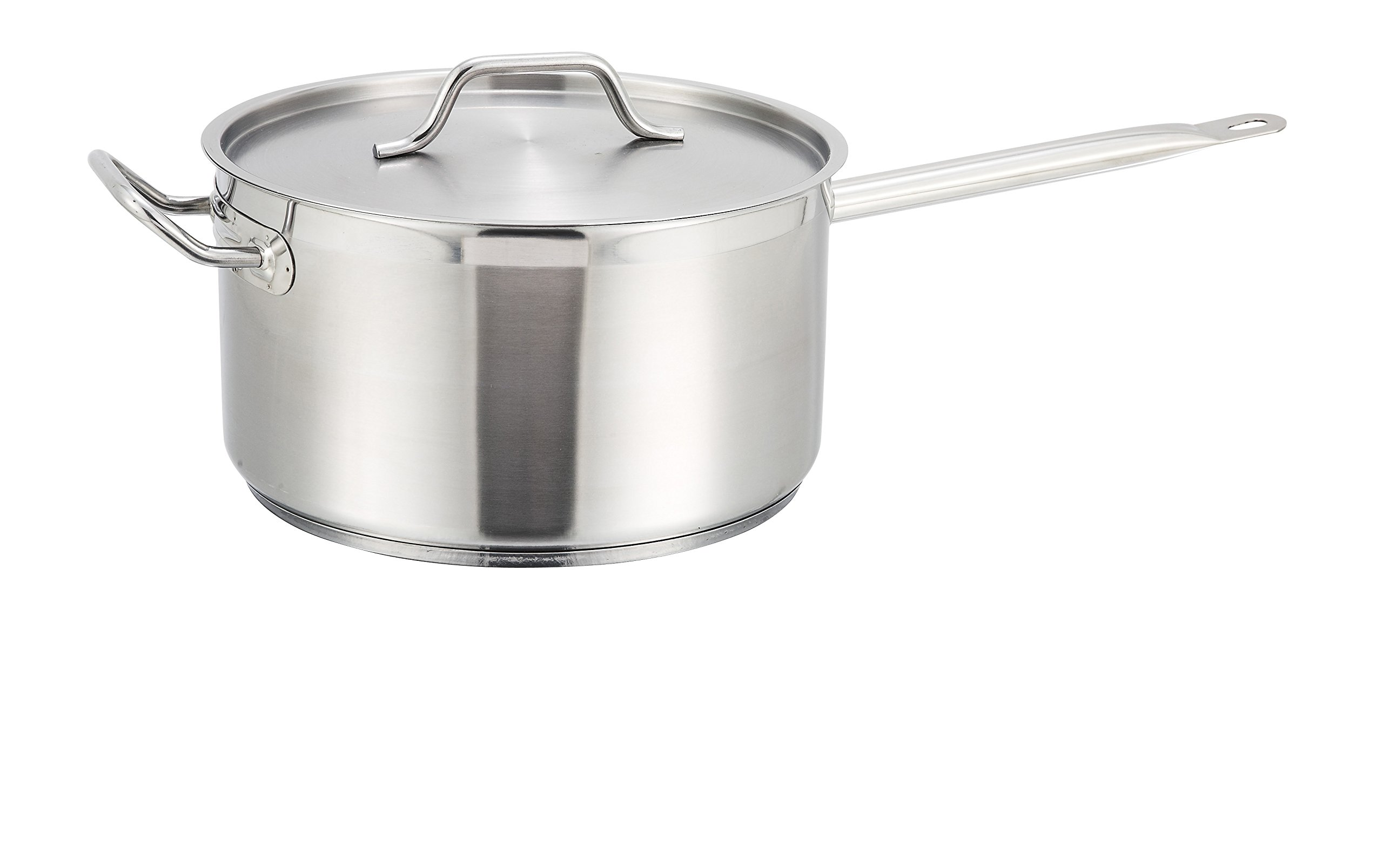 Winco SSSP-10, 10-Quart Stainless Steel Sauce Pan With Cover Helper Handle, Classic SaucePot with Lid