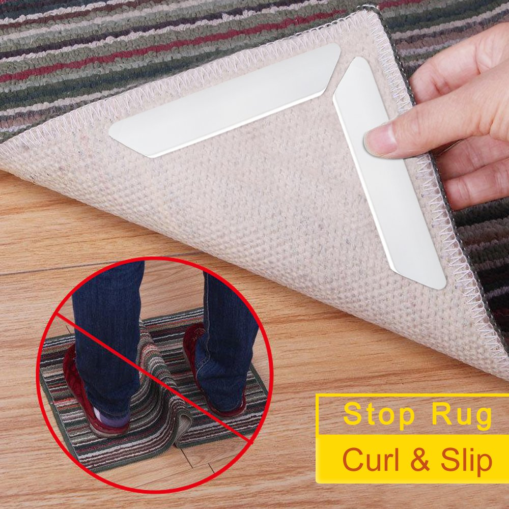Rug Grippers, Lmani Anti Curling & Non Slip Rug Pads, Strong Stickiness without Hurting Floor, Reusable and Easy to Remove - Ideal Rug Stopper For Kitchen | Bathroom (10 pcs)