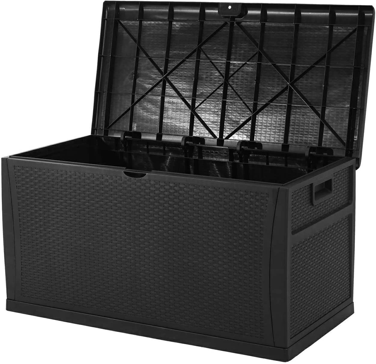Oakmont Waterproof Patio Deck Box Outdoor Resin Wicker Storage Container Garden Furniture 120 Gallon, Black