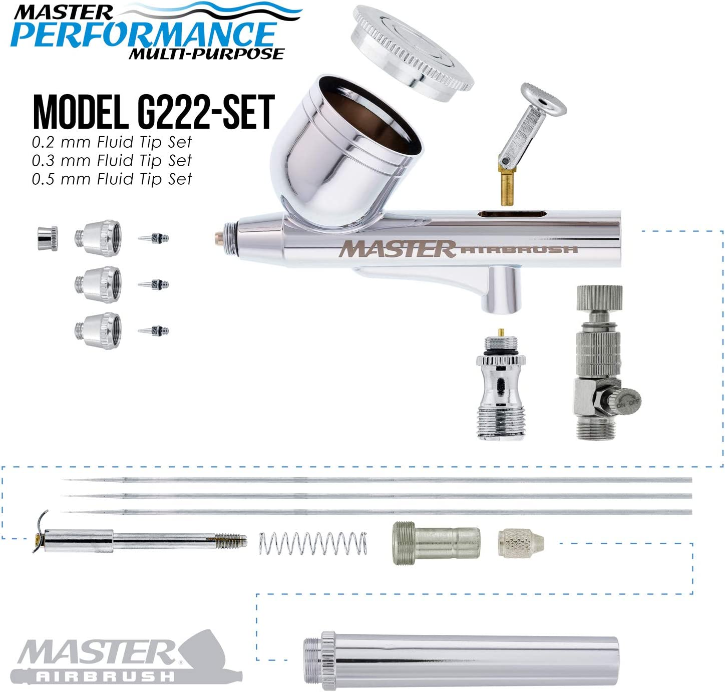 3 Tip MASTER G266 Dual-Action AIRBRUSH PRO SET KIT Auto Paint Nail Tattoo Hobby