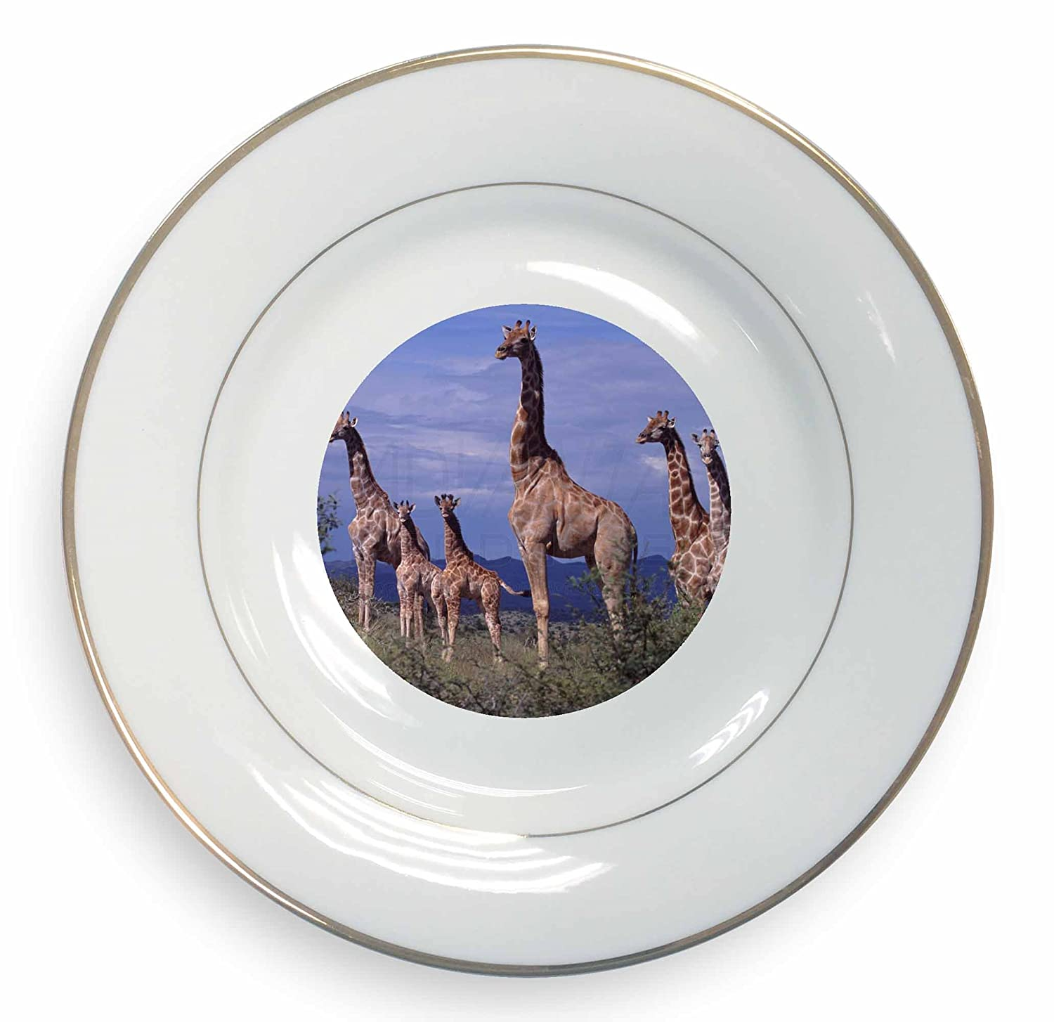 Giraffes Gold Rim Plate in Gift Box Christmas Present Advanta Products
